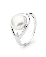White Button Freshwater Pearl Ring