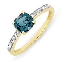 London Blue Topaz & Diamond Ring (M2754)