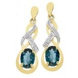 London Blue Topaz & Diamond Stud Earrings (M2753)