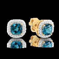 London Blue Topaz & Diamond Stud Earrings (T137)