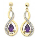 Amethyst & Diamond Earrings (13-1055)