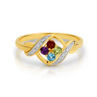 Diamond, Amethyst, Garnet, Peridot & Blue Topaz Ring