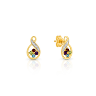 Diamond, Amethyst, Garnet, Peridot & Blue Topaz Earrings