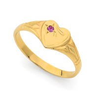 9K Yellow Gold Single Heart Signet Ring
