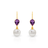 Amethyst & Button Pearl Earrings (SJ0005)