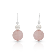 Pearl & Rose Quartz Earrings (SJ0046)