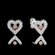 Pink Caviar Australian Argyle Pink & White Diamond Heart Range Earrings