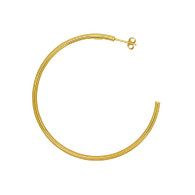 9ct yellow gold, silver filled, large open hoop stud earrings (shown as a single but sold as a pair)