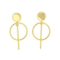 Drop Open Circle & Bar Earrings (14-2021)