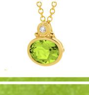 Peridot & Diamond Pendant (7-429)