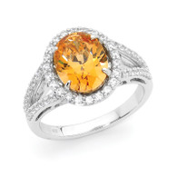 Sterling Silver Amber Coloured Oval Dress Ring made with Swarovski Zirconia