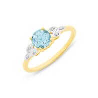 Blue Topaz & Diamond Ring (2-1931)