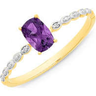 Amethyst & Diamond Ring (2-1932)