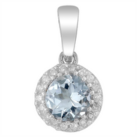 Aquamarine & Diamond Pendant (7-440)