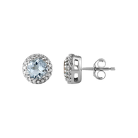 Aquamarine & Diamond Earrings (13-1077)