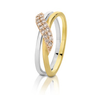 Dreamtime Australian Diamonds 3 Tone Gold Cross Over Diamond Ring