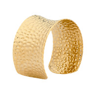 STAINLESS STEEL HAMMERED CUFF WITH YELLOW GOLD PLATED