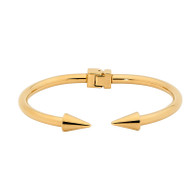 STAINLESS STEEL DOUBLE ARROW HINGED BANGLE WITH YELLOW GOLD PLATING