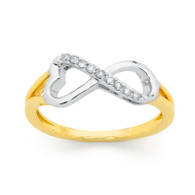 9ct Two-Tone Diamond Infinity Ring