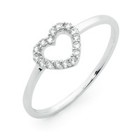 9ct White Gold Open Heart Ring