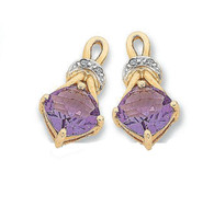 9ct Amethyst & Diamond Earring