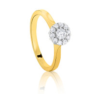 18ct yellow gold Halo Cluster Diamond ring