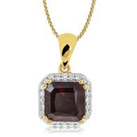 9ct Diamond and Garnet square pendant