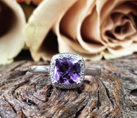 9k Amethyst & Diamond ring