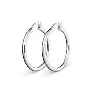 STERLING SILVER PLAIN HOOP EARRINGS 30MM