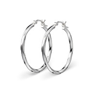 STERLING SILVER TWIST HOOP EARRINGS 30MM