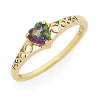 Mystic Topaz heart filigree ring