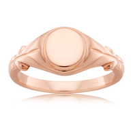 9ct pink gold oval signet ring