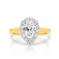 1.70ct of Diamonds Pear cut Halo ring