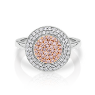 18ct White Gold Pink Argyle & White Diamond double halo ring