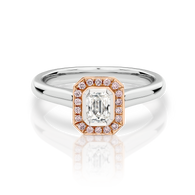 18ct White Gold Pink Argyle & White Diamond Emerald cut halo ring