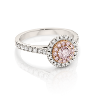 18ct White Gold Pink Argyle Diamond & White Diamond Double Halo ring