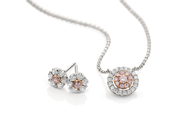 18ct White Gold Pink Argyle Diamond and White Diamond Halo Necklet