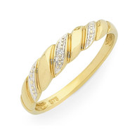 9ct Diamond Rope Twist Ring