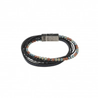 Multi-strand Black Leather and Earth Coloured bracelet