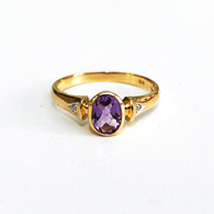 9ct Amethyst & Diamond ring (1887)