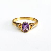 9ct Amethyst & Diamond ring (1887)