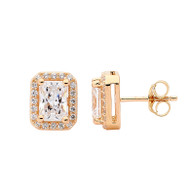 Emerald Cut White CZ Stud Earrings (E471G)