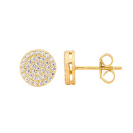 Pave White CZ Circle Stud Earrings (E475G)