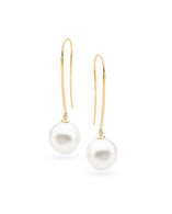 9ct White 12-13mm Baroque Long Hook Earrings