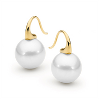 Edison Round Pearl Short Hook Earrings