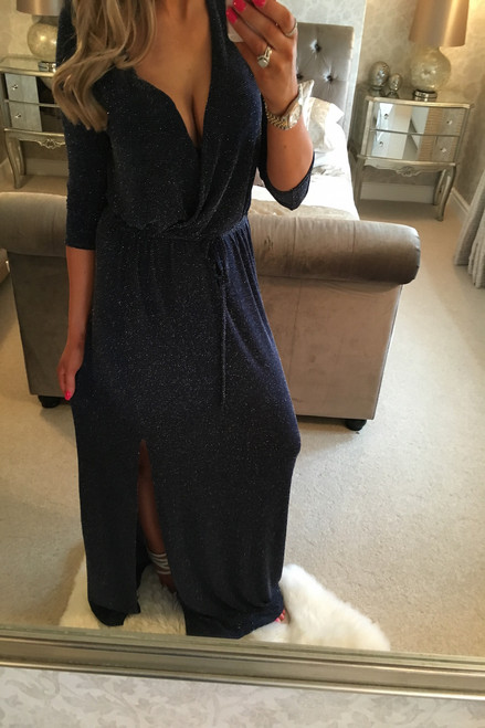 Evianna Navy Glitter Maxi Dress