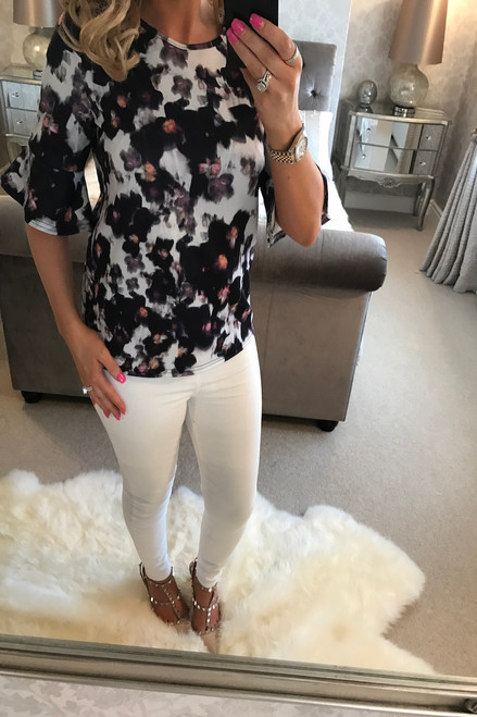 White & Grey Florence Flute Sleeve Top