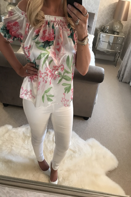 Rosin White Floral Bardot Top