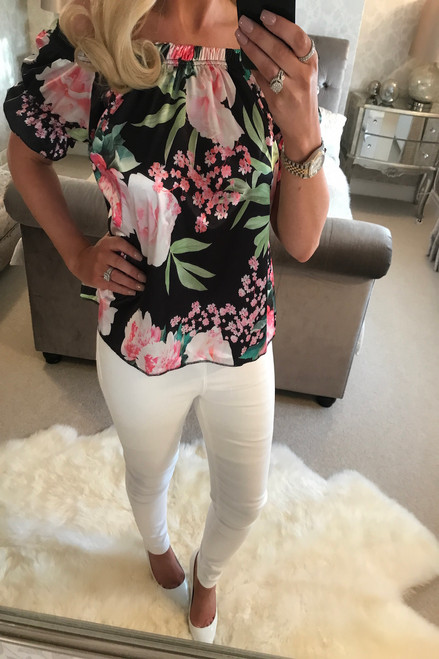 Ciara Black Floral Bardot Top