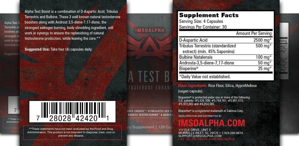 TestBooster by ImSoAlpha Facts and Ingredients Panel